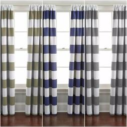 1 Panel Cabana Striped Back Tab Thermal Insulated Blackout W