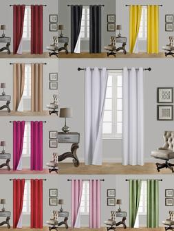 1 Set 100% Blackout Thermal Window Curtain Panel Lined Eclip