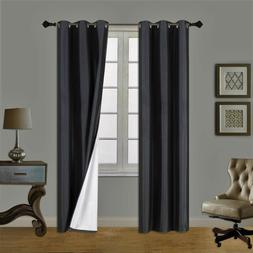 2PC Insulated Lined Foam Blackout Grommet Window Curtain Pan