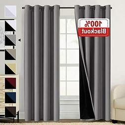 100% Blackout Curtains For Living Room Double Layer Faux Sil