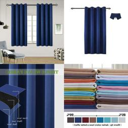 100% Blackout Curtains Thermal Insulated Soundproof Black Li