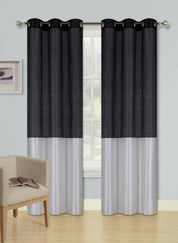 1PC New 2-TONE Window Curtain Grommet Panel Lined Blackout E
