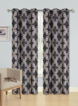 2 Window Curtains Design Blackout Lined Panels Silver Gromme