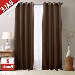 2 Panel Blackout Curtains Brown 84 inch Bedroom Linen Textur