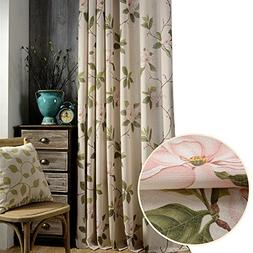 2 Panel Blackout Lined Curtains Pink Flower Drapes - Anady G