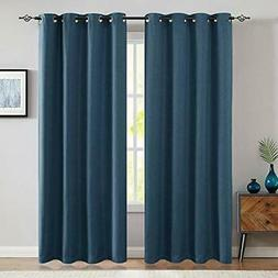 jinchan 2 Panels Blackout Curtains Blue 95 inch Bedroom Drap