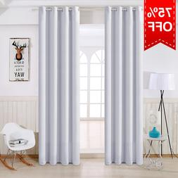 2 Panels Blackout Window Curtains Thermal Insulated Drapes f
