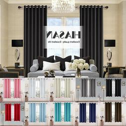 2 Panels Room Darkening Blackout Curtains Thermal Insulated