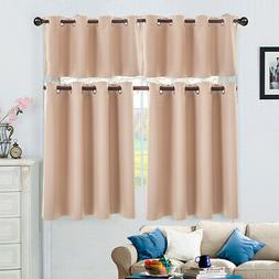2 Panels Set Curtain Living Room Short Blackout With Holes S