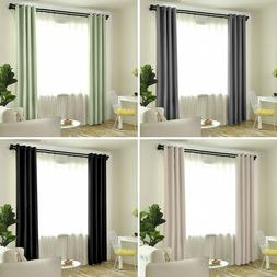 2 Panels Thermal Insulated Blackout Window Curtains Heavy Th