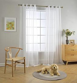 Miuco 2 Panels White Curtains Grommet Textured Solid Sheer C