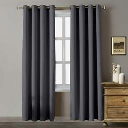 2 Pcs Thermal Insulated Blackout Curtains Window Room Darkne
