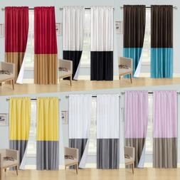 2PC BLACKOUT 2-TONE ASSORTER COLOR WINDOW CURTAIN LINED PANE
