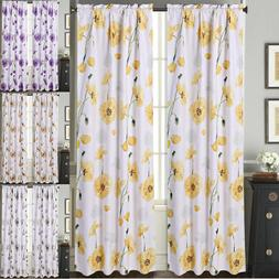 2PC Printed Big Flower Lined Blackout Rod Pocket Window Curt