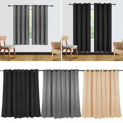 2Pcs Full Shade Blackout Curtains Window Panel Drapes For Be