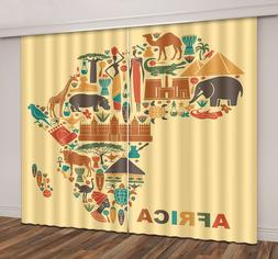 3D Africa Travel Map Blockout Photo Printing Fabric Drapes 2