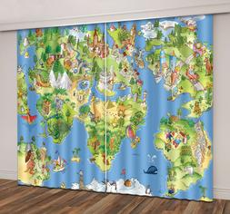 3D Photo Printing Funny Travel World Map Window Curtains Blo