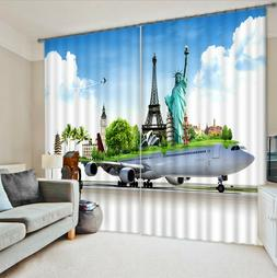 3D World Travel By Air Decor Blockout Photo Printing Curtain