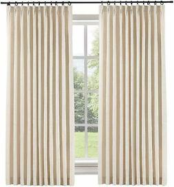 ChadMade 50' W X 96' L Polyester Linen Drapes With Blackout