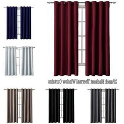 Blackout Window Curtains 2 Panel Drape Set Thermal Insulated