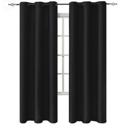Sheeroom Blackout Curtains for Bedroom Living Room, Black, 4