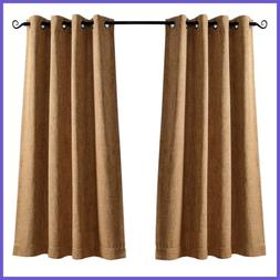 """63"""" Long Blackout Curtains For Bedroom Faux Linen Thermal In"""