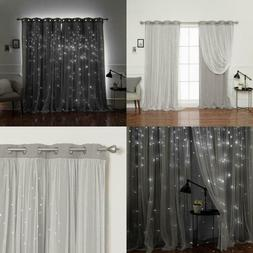 84 In. L Dove Tulle Overlay Star Cut Out Blackout Curtain Pa