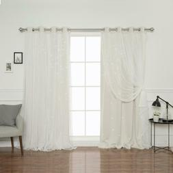 84 In. L Ivory Tulle Overlay Star Cut Out Blackout Curtain P
