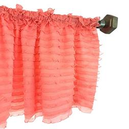 A Vision to Remember Light Coral Sheer Ruffle Valance Extra