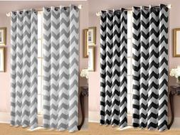 Chevron Insulated 100% Thermal Blackout Grommet Window Curta