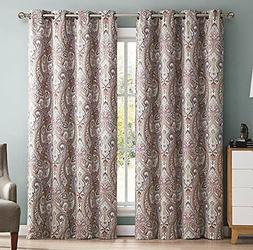 HLC.ME Paris Paisley Damask Thermal Blackout Grommet Window