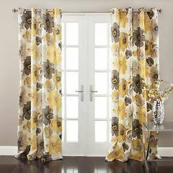 Half Moon Leah Floral Window Curtains Set, Yellow/Gray, 1