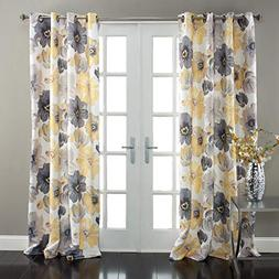 Lush Decor Leah Floral Darkening Yellow and Gray Window Curt