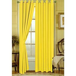 LuxuryDiscounts 2 Piece Solid Faux Silk Grommet Window Curta