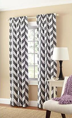 Mainstays Chevron Polyester/Cotton Curtain Panels, Set of 2,