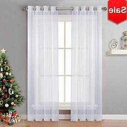 NICETOWN Sheer Window Curtain Panels - Solid White Panels /