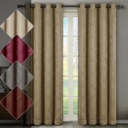 Bella Blackout Weave Embossed Grommet Window Curtain Panels