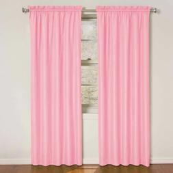 Set 2 Solid Pink Curtains Panels Drapes 63 84 inch L Blackou