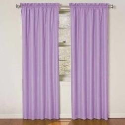 Set 2 Solid Purple Curtains Panels Drapes 63 84 inch L Black
