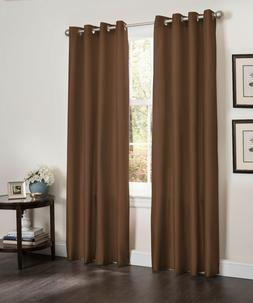 Set of 2 Blackout Living Room Window Curtain Faux Silk Panel