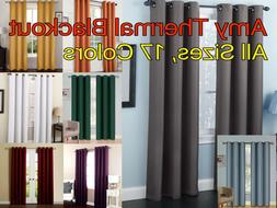 solid amy thermal blackout window curtain panel