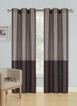 TAUPE - BROWN SET 2 TONE GROMMET WINDOW CURTAIN ECLIPSE BLAC