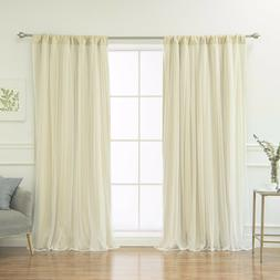 Tulle Overlay Blackout Rod Pocket Thermal Window Curtains Dr