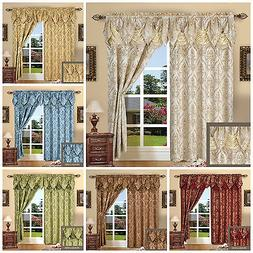 "Elengant Window Curtain Jacquard With Attached Valance 84"" L"
