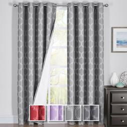 Alana Thermal Insulated Blackout Grommet Jacquard Window Cur