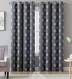 HLC.ME Arrow Printed Blackout Room Darkening Thermal Grommet