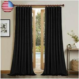 Back Tab Velvet Blackout Curtains - 120-inches Extra Long Th