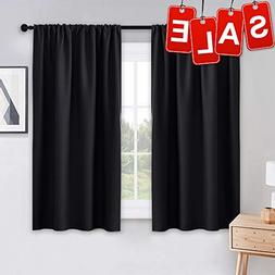 PONY DANCE Bedroom Blackout Curtains - Light Block Solid Sof