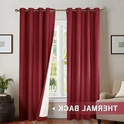 Jinchan Bedroom Thermal Blackout Curtains, Energy Saving Lin