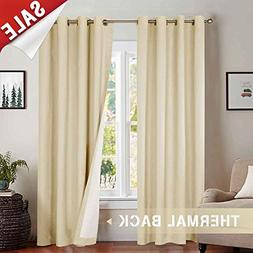 jinchan Bedroom Thermal Moderate Blackout Curtains, Energy S